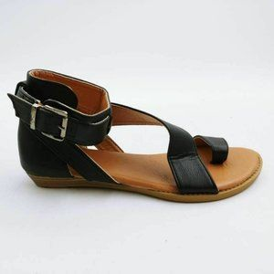 Yasirun Angled Ankle Strap Sandals Black 39 New